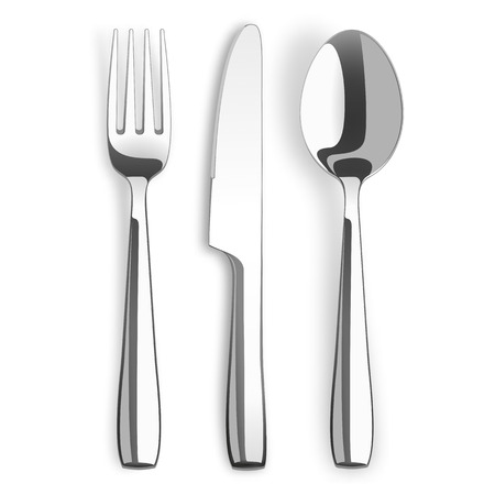 Stainless steel knife and fork on the white background. Stock Illustratie