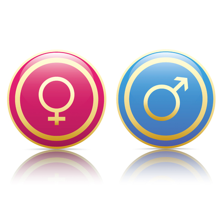 male friends: Male and female golden buttons on the white background. Illustration