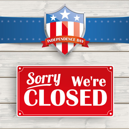 closed ribbon: Independence day protection shield with sign on the wooden background.