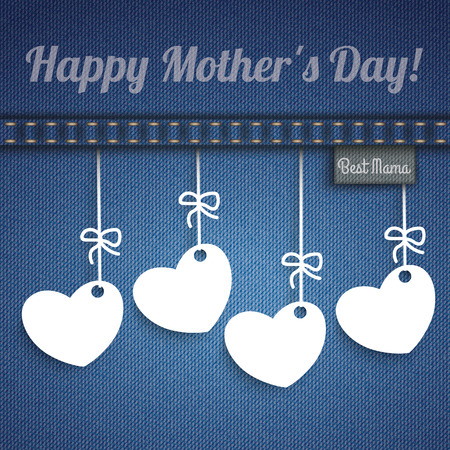 blue jeans: Blue jeans with 4 hanging hearts for Mothers Day.