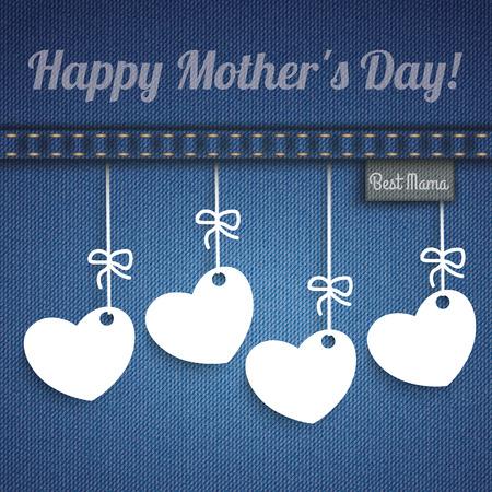 corazones azules: Tejanos con 4 corazones colgantes para el Día de la Madre. Vectores