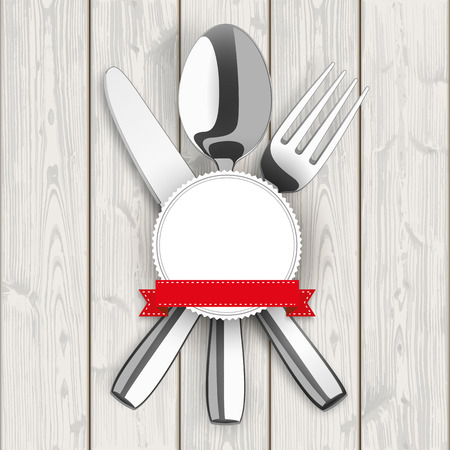knife fork: Knife, fork, spoon and emblem on the wooden background. Illustration