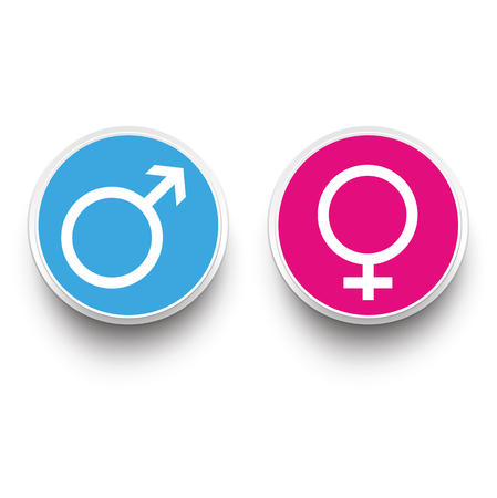hetero: Male and female paper buttons on the white background. Illustration