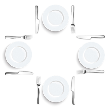 steel plate: Stainless steel knife and fork with plate on the white background.