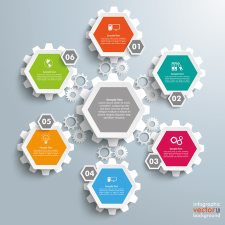 six web website: Infographic with honeycomb structure and gears on the gray background.
