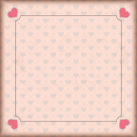 mothersday: Vintage cover with hearts and retro frame. Illustration