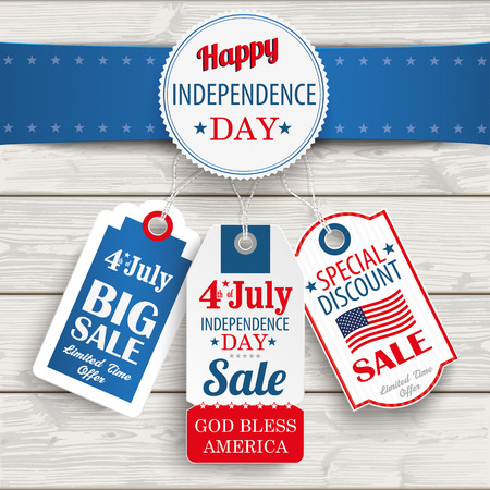 oak wood: Independence day sale price stickers with blue banner on the wooden background.