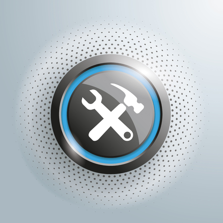 patching: Repair button with halftone on the gray background.