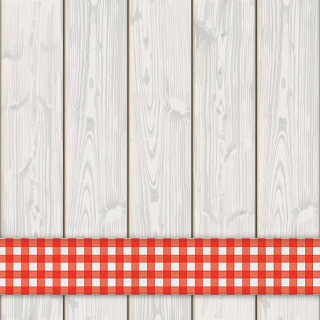 laths: Red checked tablecloth on the wooden background. Eps 10 vector file.