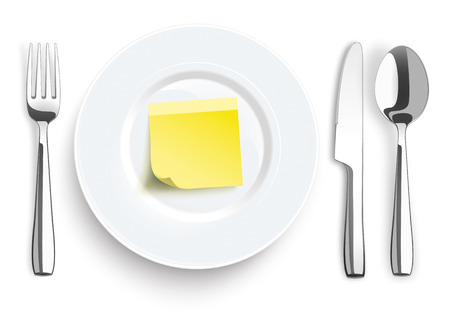 steel plate: Stainless steel knife, stick, spoon and fork with plate on the white background.