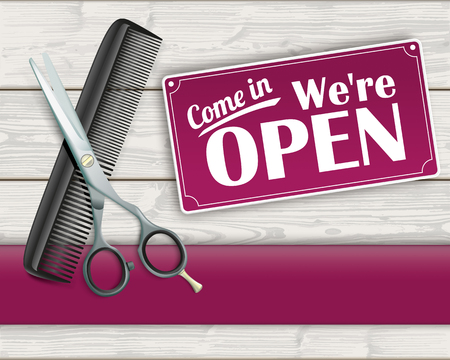 haircutter: Sign with were open.