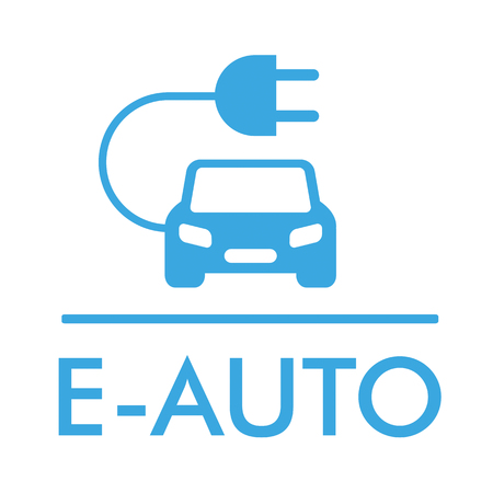 visionary: German text E-Auto, translate E-Car. Illustration