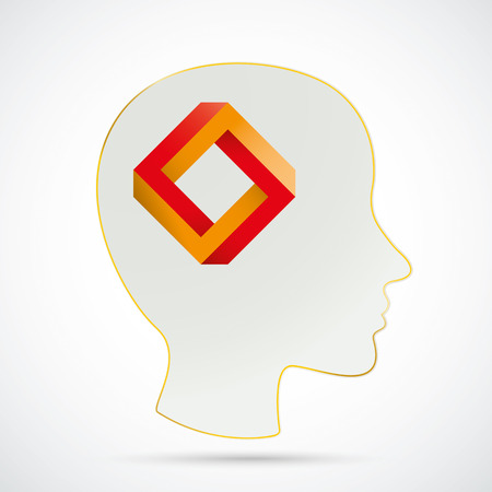 paradox: Human head with paradox on the white background. vector file.