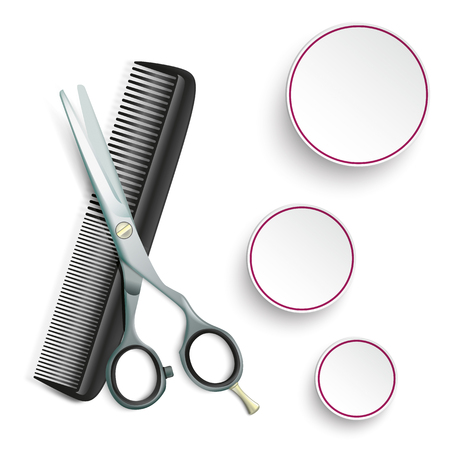 combs: Scissors and comb with 3 circles on the white background. vector file.