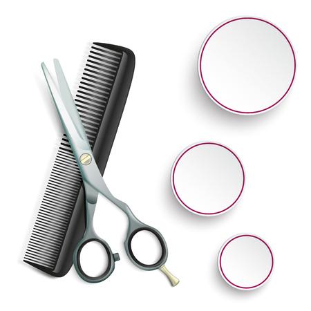 tijeras: Tijeras y peine con 3 círculos en el fondo blanco. archivo vectorial.
