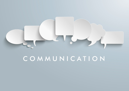 human voice: White paper communication bubbles on the gray background. vector file.