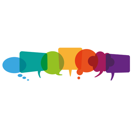 comunicazione bolle colorate su sfondo bianco. file vettoriale.
