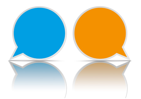 mirroring: 2 round speech bubbles on the white background. vector file.