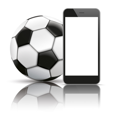 black shadows: Black smartphone with classic football and shadows on the white background. Illustration