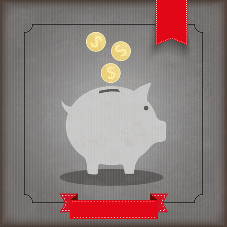 shareholder: Vintage cover with piggy bank, dollar coins and ribbons. vector file.