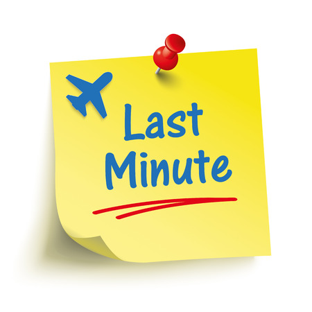 last minute: Yellow sticker with text Last Minute. vector file. Illustration