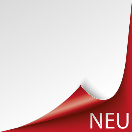 scrolled: German text Neu, translate New. vector file. Illustration