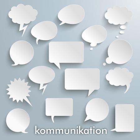 German text Kommunikation, translate Communication on the gray background. vector file.