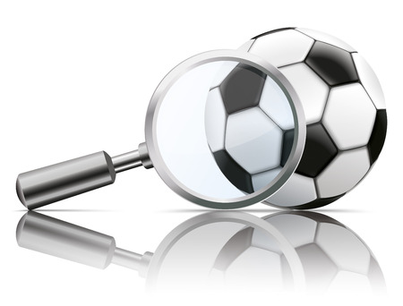 magnifying: Loupe with football on the white background. vector file.