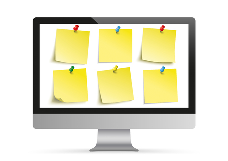 Personal computer monitor mockup with yellow stickers on the white background. vector file.