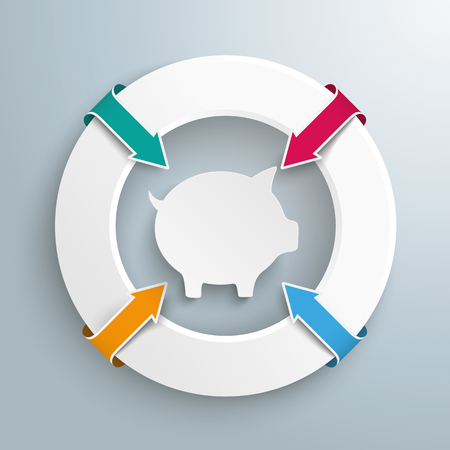shareholder: Infographic with white circle and piggy bank on the gray background. vector file. Illustration