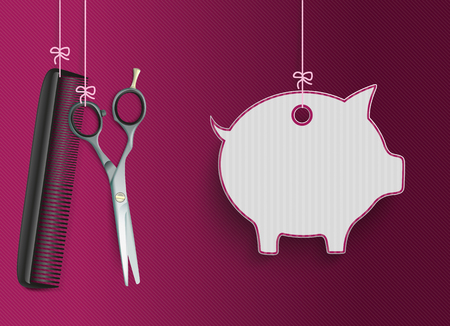 haircutter: Hanging hairdresser tools with piggy bank price sticker on the purple striped background. vector file.