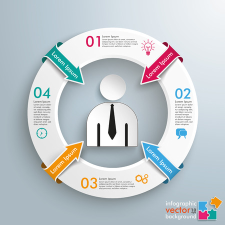 employe: Infographic with white circle and businessman on the gray background. vector file.
