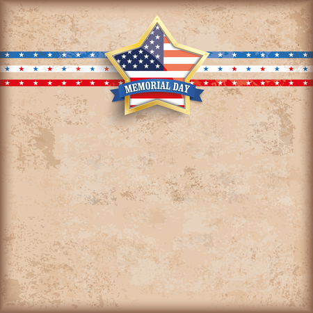 golden star: Vintage Memorial Day background design with brown colors and US-Flag golden star. vector file. Illustration