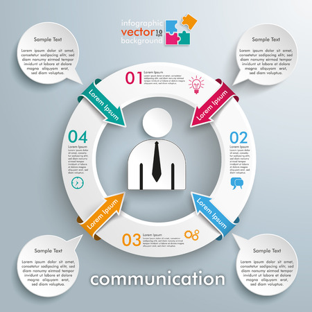 employe: Infographic with white ring, businessman and 4 speech bubbles on the gray background. vector file.