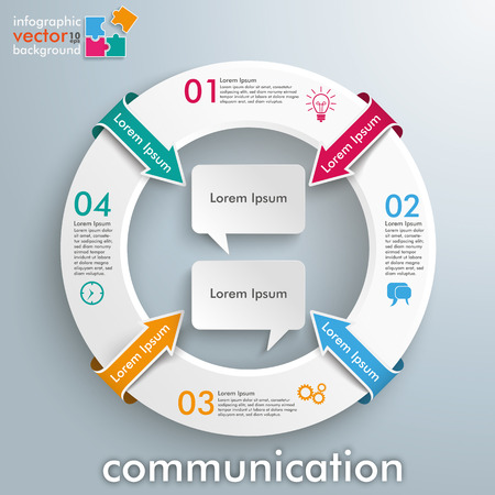 Infographic with white circle and 2 speech bubbles on the gray background. vector file. Illustration