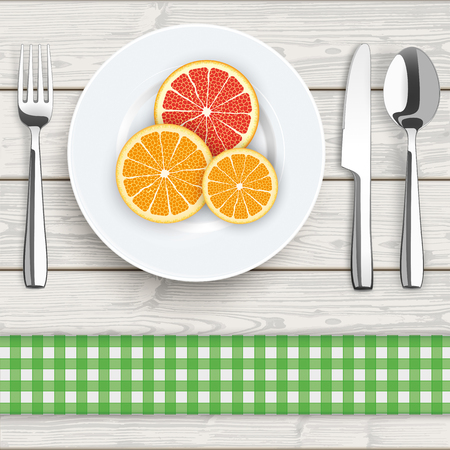 veggies: Flatware with citrus fruits on the wooden background. vector file.