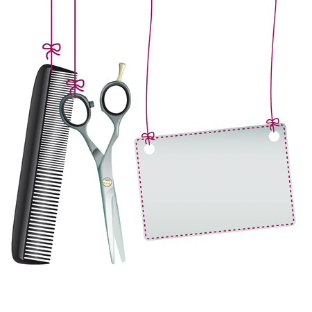 haircutter: Hanging hairdresser tools with banner on the white background. vector file.