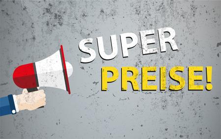 """Duitse tekst """"Super Preise"""", vertalen """"beste prijzen"""". vector bestand."""
