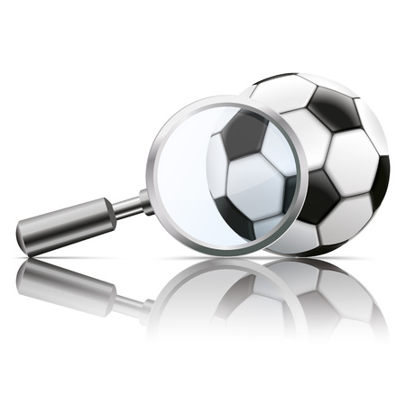 check symbol: Loupe with football on the white background. vector file.