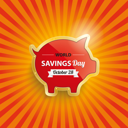 fonds: Golden piggy bank with text World Savings Day. vector file. Illustration