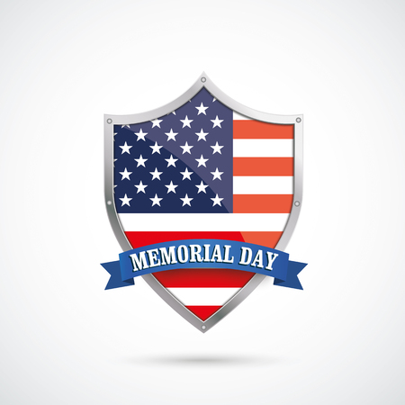 history month: US-Flag protection shield for Memorial Day on the white background. vector file.