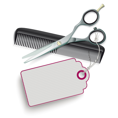 haircutter: Scissors and comb with purple price sticker on the white. vector file.