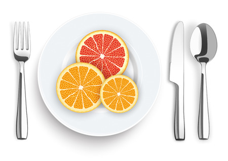 flatware: Flatware with citrus fruits on the white background. vector file. Illustration
