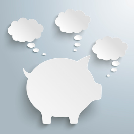 thinking bubble: Piggy bank with thought bubbles on the gray background. vector file.