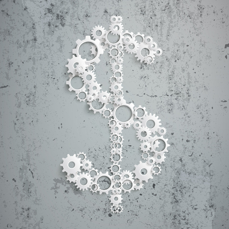 greenback: Gears in dollar shape on the concrete. vector file.