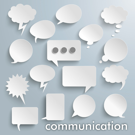 Communication bubbles set on the gray background. vector file.