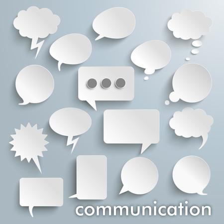 Komunikacja bąbelki ustawiony na szarym tle. plik wektorowy. Ilustracje wektorowe