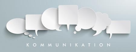 "dialogo: texto alemán ""Kommunikation"", se traduce ""comunicación"". archivo vectorial."