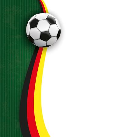 Pokrywa z piłki nożnej, zielone i białe tło i niemieckich barwach narodowych. plik wektorowy.