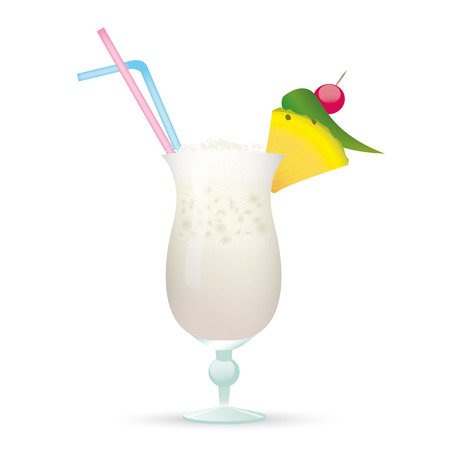 Cocktail Pina Colada on the white background. vector file.